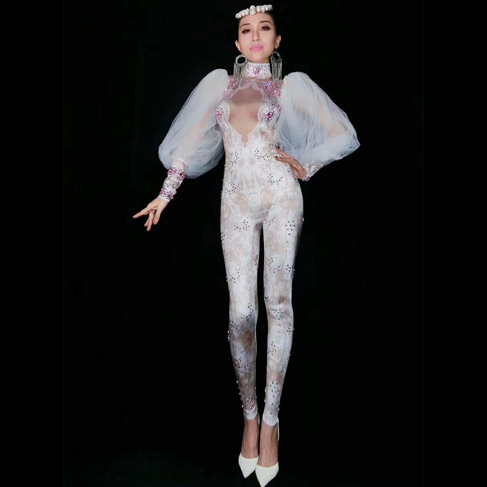 Lace Sleeve Rhinestone Jumpsuit Sexy Women Leggings One Piece Performance Stage Costume Nightclub Outfit Rhinestone Bodysuit