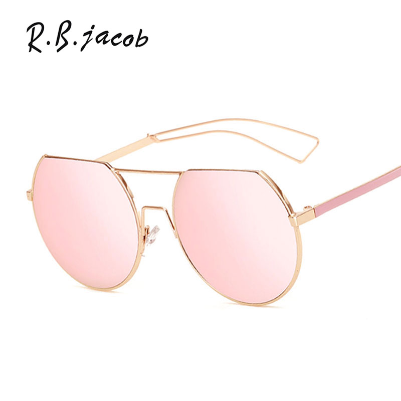 Flat Top Round Sunglasses Mirror Women Men Brand Designer Lady Female Sun glasses UV400 High quality Rose Gold 2017 New Fashion