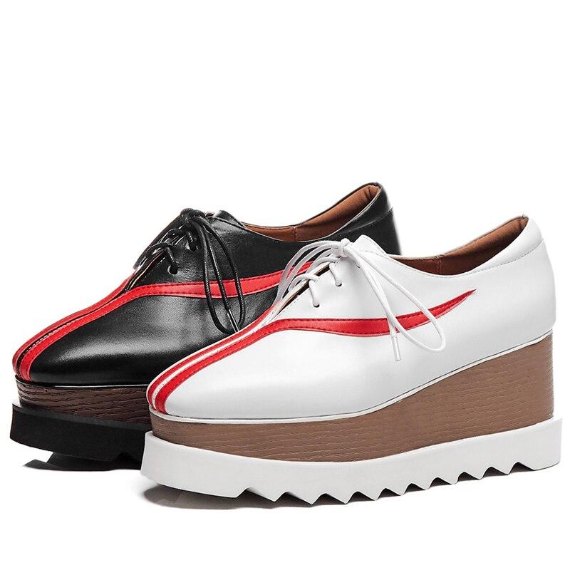 Sarairis Zapatos 42 Primavera Otoño blanco Fiesta Plana Lujo Planos 33 Grande Mujer Oficina Vaca Nuevo De Cuero Negro Plataforma Tamaño Hembra IZqr1IP