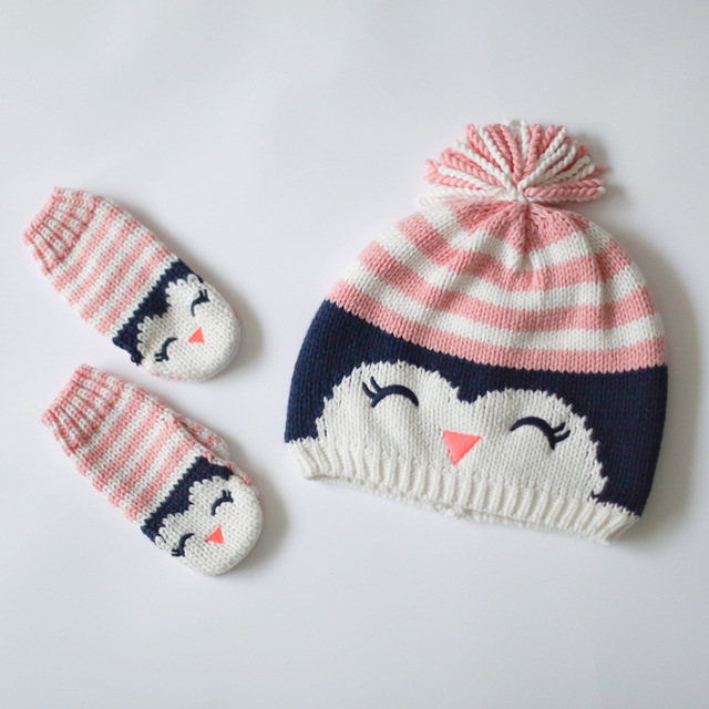 48a79ebf 100% cotton baby hat girls warm baby mittens cartoon owl striped kids hats  gloves set children winter hats baby girl gloves