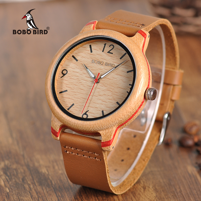 BOBO BIRD Leather Band Watches Bamboo Quartz Wristwatches Timepieces for Men and Women in Gift Box K-aQ22 цена