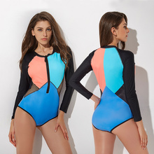 New Shape Long Sleeve Swimsuit Women Solid Color Rash Guards S-2XL Girl Mesh Patchwork Surfing Suit Front Zipper One Piece Suit все цены