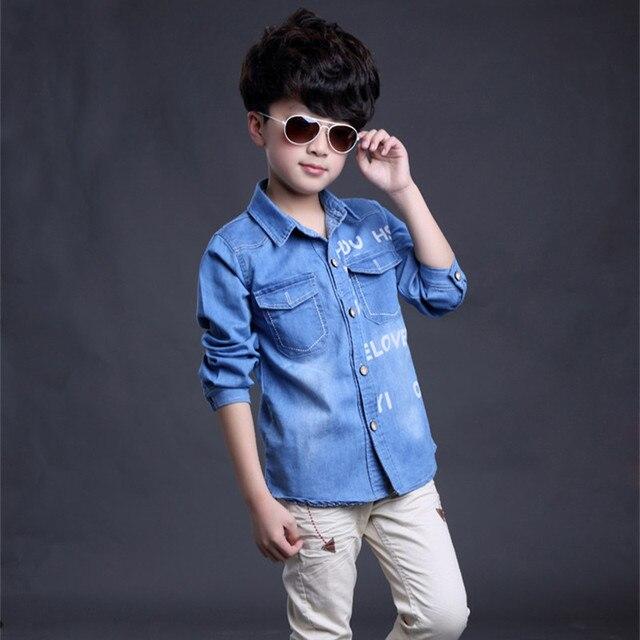 e38304771 Child jeans shirt 2016 spring autumn children's clothing letter shirts baby  kids casual long sleeve top boys girls denim blouse