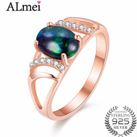 Almei 1ct Black Opal Beads Rose Gold Color Filigree Rings Silver 925 Hollow Costume Jewelry Women Anel Feminino with Box CJ030