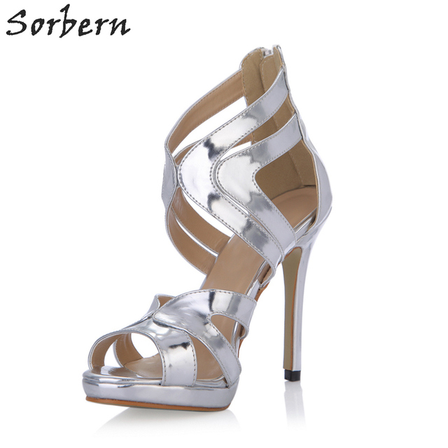 b5941cf03 Sorbern Silver Designer Shoes Ladies High Unique Shoes Sandals Women Shoes  Women Luxury 2018 Custom Colors New Sandals Heel