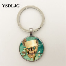 YSDLJG Vintage Skull Cabochon Tibetan silver Glass Pendant Necklace DIY Fashion Charm Gift for Men Women Jewelry gift