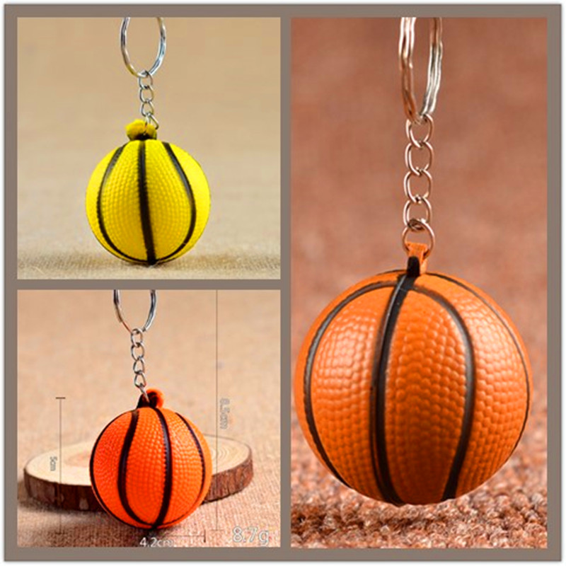 1 Pcs Cheap Basketball PU Keychain Toys, Fashion Sports Item Key Chains Jewelry Gift For Boys And Girls