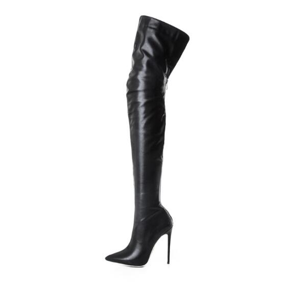 2018 Hot Selling Pointed toe High Heel Women Winter Boots Sexy Black Leather Over The Knee Boots Women Thin Heel Dress Shoes jialuowei women sexy fashion shoes lace up knee high thin high heel platform thigh high boots pointed stiletto zip leather boots