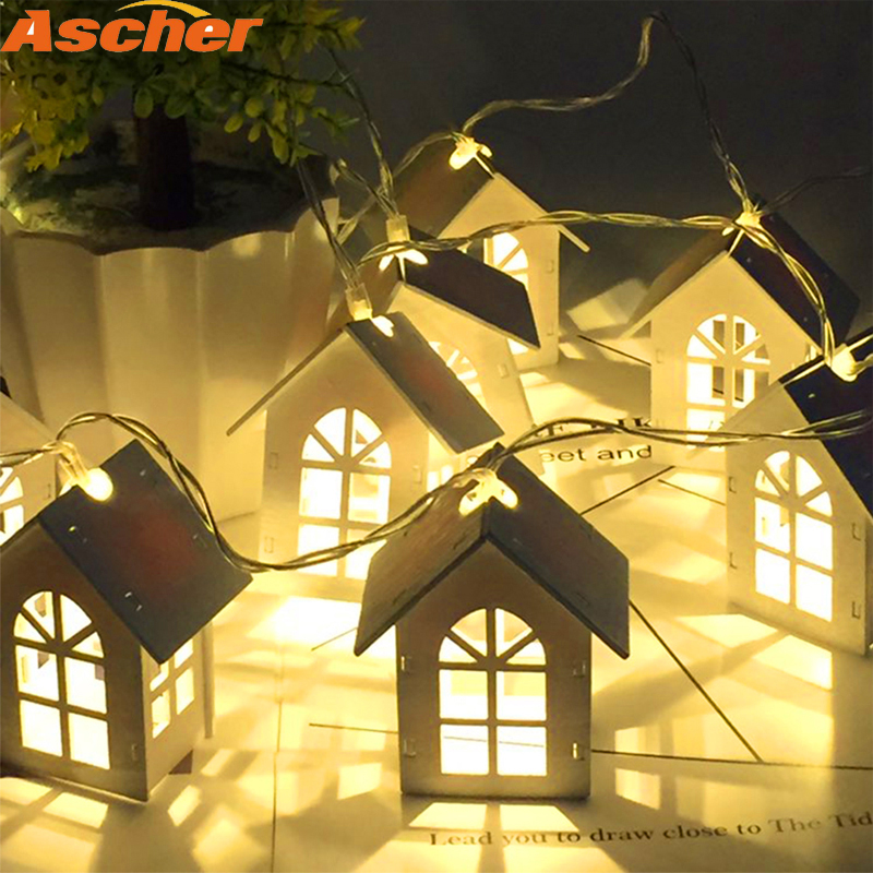 Ascher LED Garland Wood House String 1.5m 10LEDs Room Decor String Lamp Wedding Party Holiday Fairy Lights Novelty Night Light