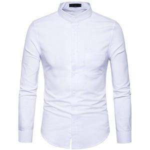 Image 4 - אוקספורד כותנה חולצה גברים 2018 אביב מקרית Slim Fit צווארון עומד חולצות גברים ארוך שרוול מוצק תחתונית Homme צבא ירוק