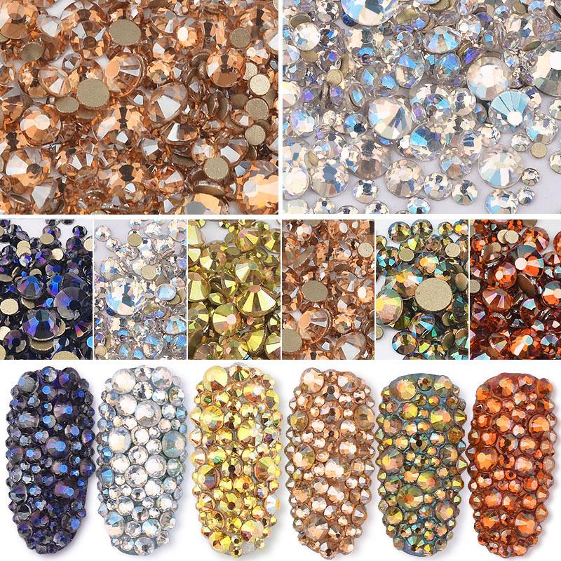 SS3-SS20 tamanho misto brilhante ab cristal arte do prego strass champanhe âmbar ouro flatback não hotfix vidro gem pedra manicure f029