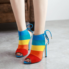 Womens Rainbow Color Matching High Heels Shoes Sexy Super with 11.5CM Fish Mouth Back Empty Leg Band Open Toe EUR35-40