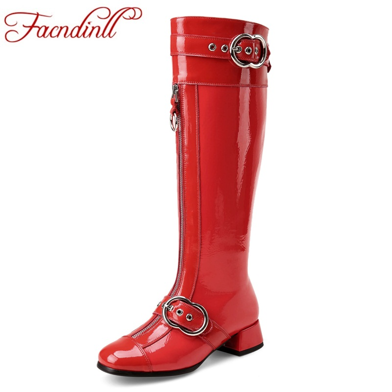 FACNDINLL brand shoes woman autumn winter boots black red sexy high heels square toe women shoes patent leather knee high boots facndinll women knee high boots leather winter boots pointed toe zip casual shoes women high heels size 32 45 black boots woman