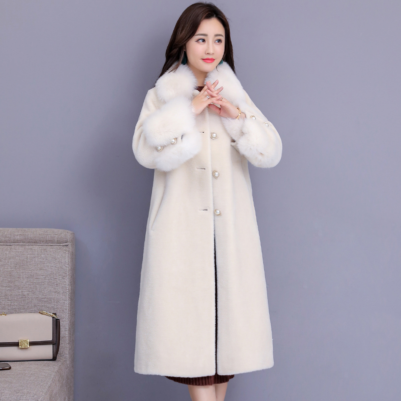 Sheep sheared coat female new fox fur collar section autumn winter plus size fur coats Jacket