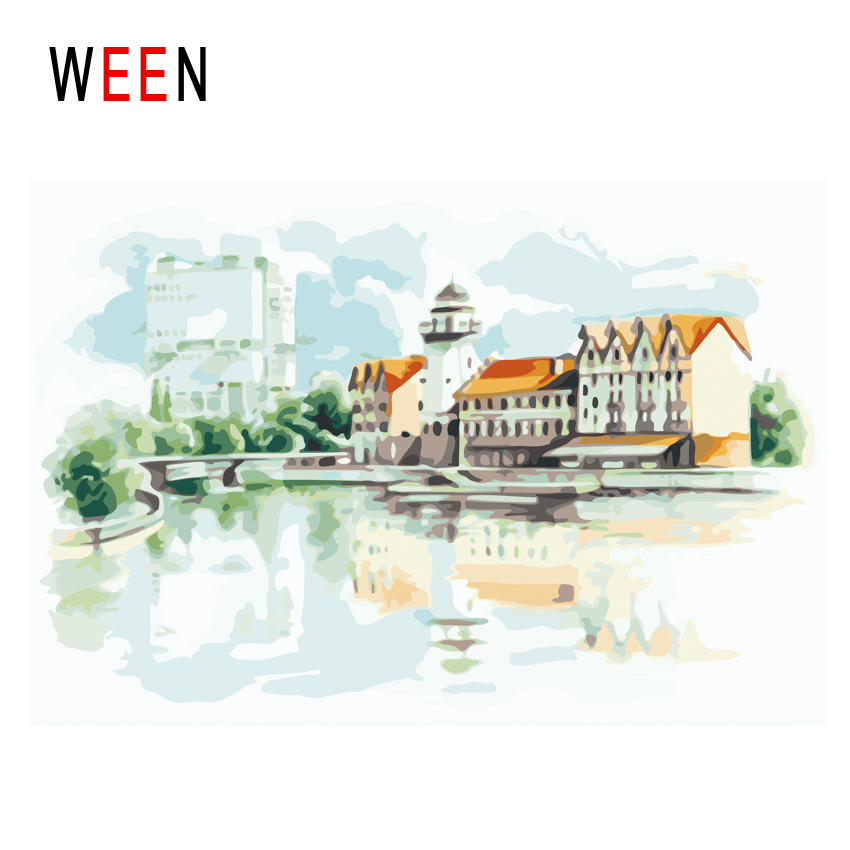 WEEN Town Diy Painting By Numbers Abstract Lake Oil On Canvas Seaside House Cuadros Decoracion Acrylic Wall Art Gift