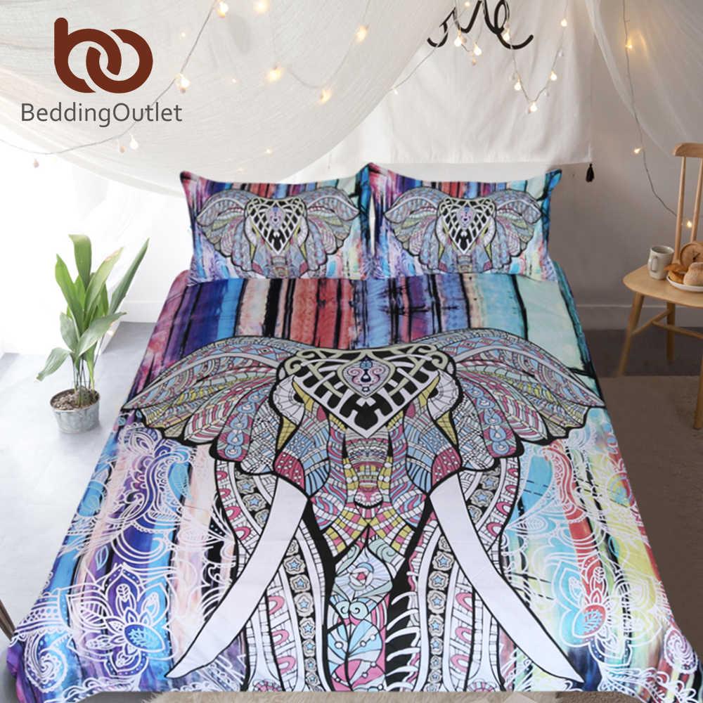 Постельные принадлежности, постельное белье со слоном, набор пододеяльников в богемном стиле, набор пододеяльников, мандала, домашний текстиль, 3 шт., экзотические красочные постельное белье