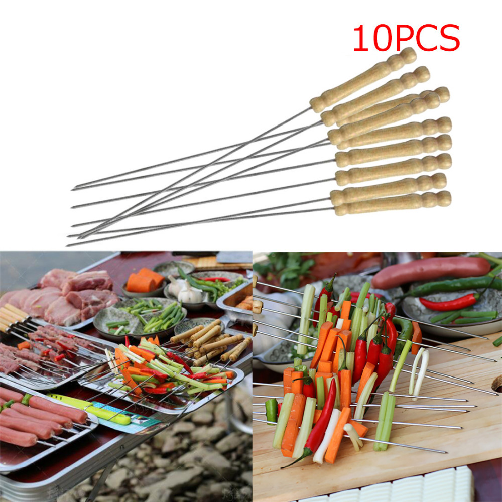 6 x Wooden Handled Metal BBQ Grill Barbecue Kebab Meat Vegetable Skewers Sticks