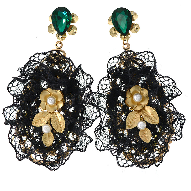 Black Lace Baroque Pearl Earrings Luxury Designer Jewelry for Women Turquoise Emerald Green Crystal Long Pearl Drop Earrings in Drop Earrings from Jewelry Accessories