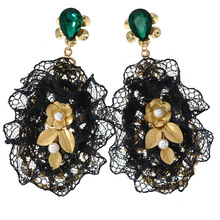 Black Lace Baroque Pearl Earrings Luxury Designer Jewelry for Women Turquoise Emerald Green Crystal Long Drop