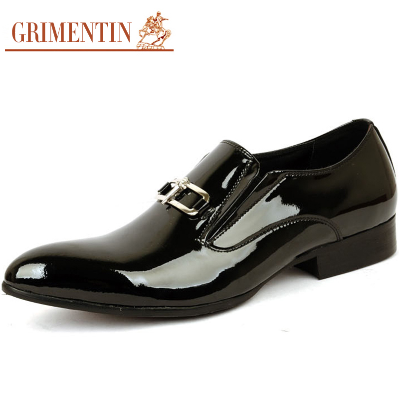 mens dress shoes luxury brand patent leather genuine