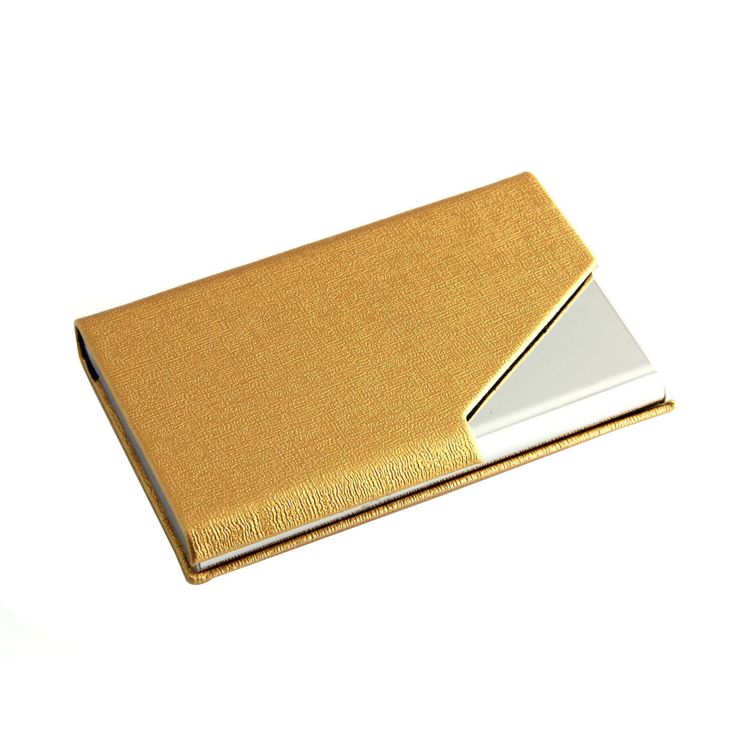 Business Name Card Holder Luxury PU Leather & Stainless Steel Multi Card Case Holder card ID Case/HolderLight Gold