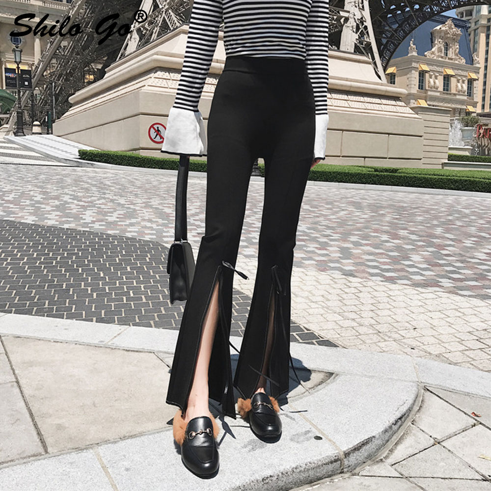 Sexy Sash Flare   Pants     Capri   Trousers Women Autumn Bandages   Pants   Streetwear Sash Black High Waist   Pants   2019 Female