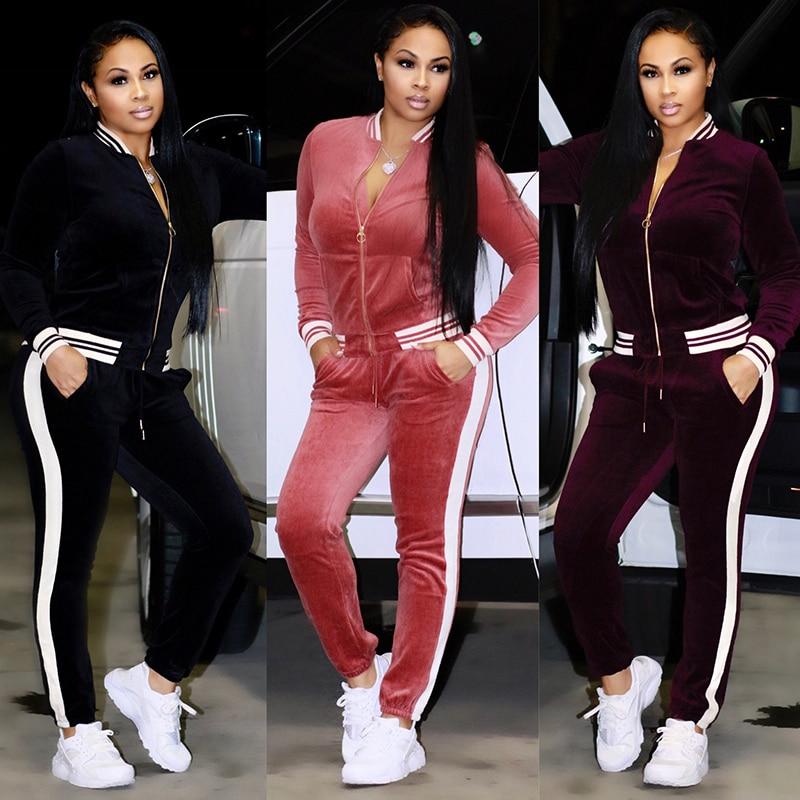 2 TWO PIECE SET Casual Tracksuit Velour Jacket Zipper For Women Pants Track Suit Long Sleeve Sweatsuits Large Plus Size Winter