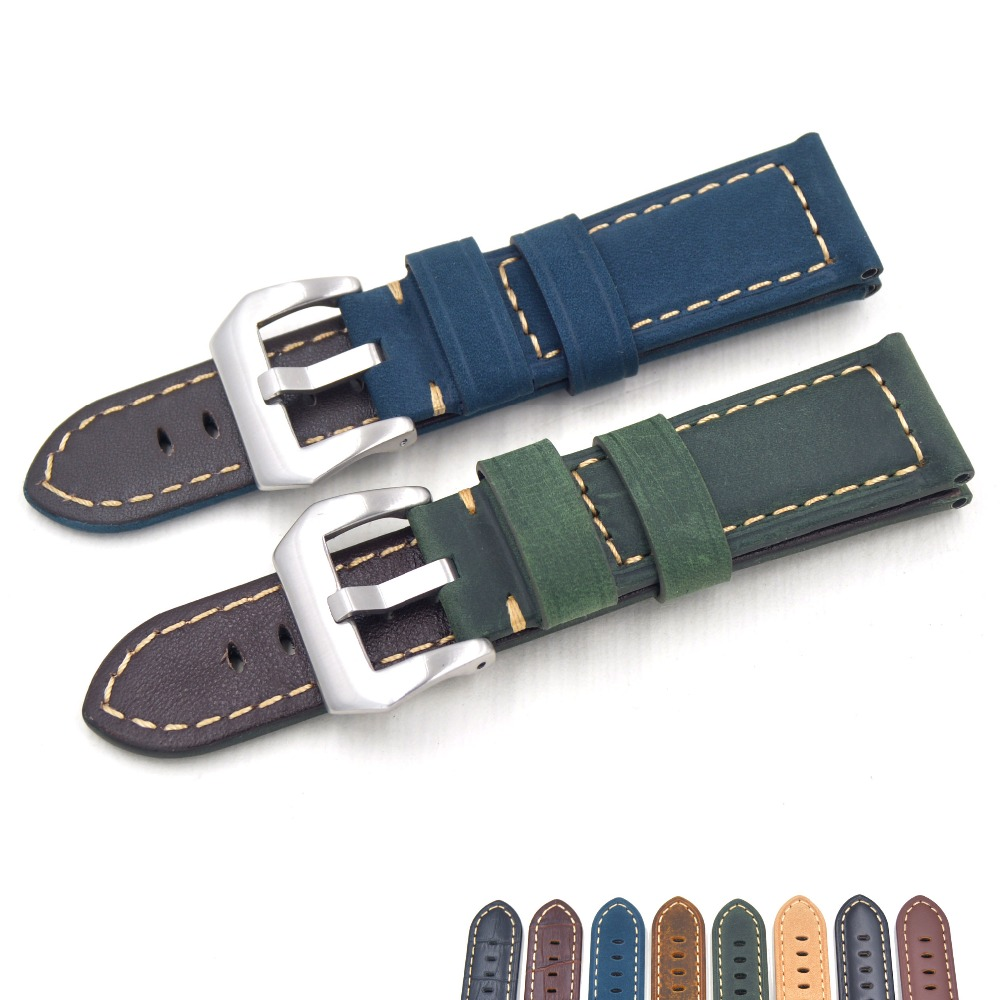 2018 Handmade 22MM 24mm Italy Vintage Genuine Leather Watch Band with Men Brown blue green Watch Strap for Panerai PAM Big watch lukeni 24mm camo gray green blue yellow silicone rubber strap for panerai pam pam111 watchband bracelet can with or without logo