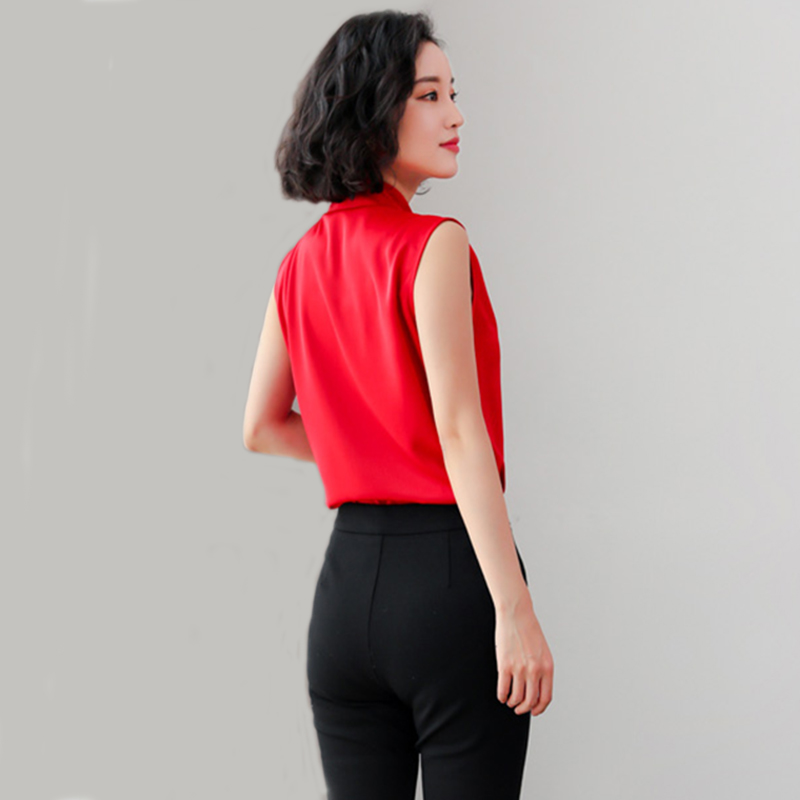 Korean Fashion Women Chiffon Shirt 2019 Summer vest Tops New Sleevess Cross Office Female T shirt Loose Solid Feminina Clothing in T Shirts from Women 39 s Clothing