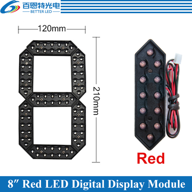 "4pcs/lot 8"" Red Color Outdoor 7 Seven Segment LED Digital Number Module for Gas Price LED Display module"
