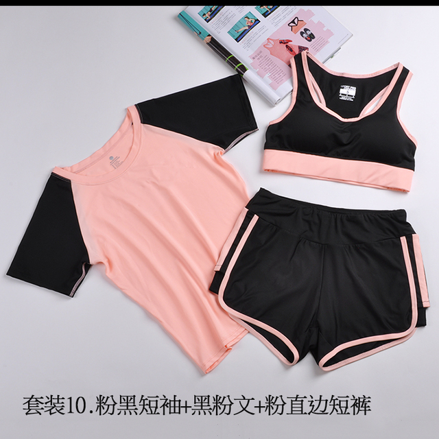 2017 Women 3 Pieces Fitness Set Casual T-Shirt Bra Cropped shorts Sported Set Clothes motion wear Suit quick dry slim tops 42106