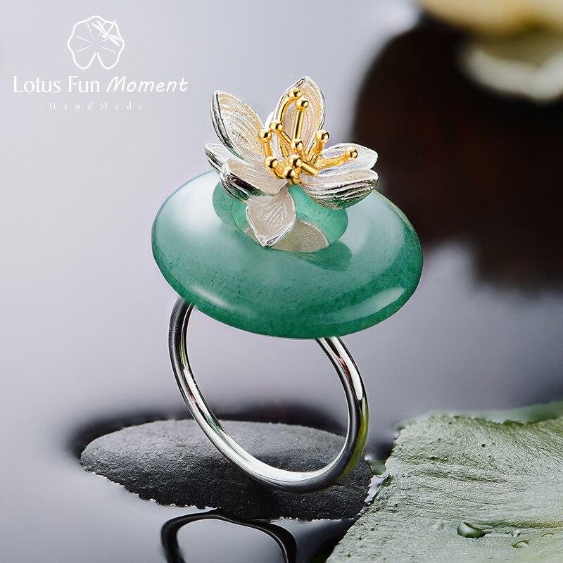 Lotus Spaß Moment Echt 925 Sterling Silber Natürliche Grüne Stein Blume Ring Mode Schmuck Lotus Whispers Ring für Frauen Bijoux