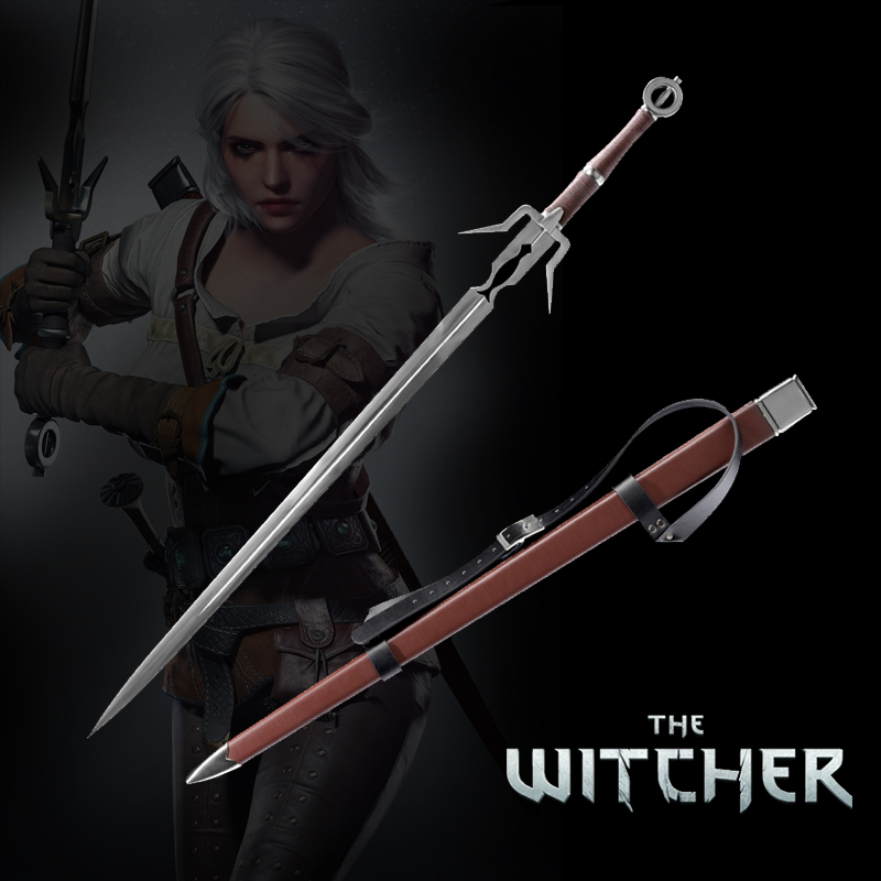 Mittelalter Schwert Edelstahl Ciri's Blade Replica The witcher3: Wild Hunt Holzscheide Brown Leather Decorative Supply