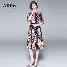 Women Dress Elegant Party Dress 2019 Spring/Summer New Fashion Round Collar Long-sleeved Vintage Printed A-Line Dress Plus Size long sleeved dress women 2019 spring summer new simple stripes turn down collar slim a line casual elegant dress midi s xl