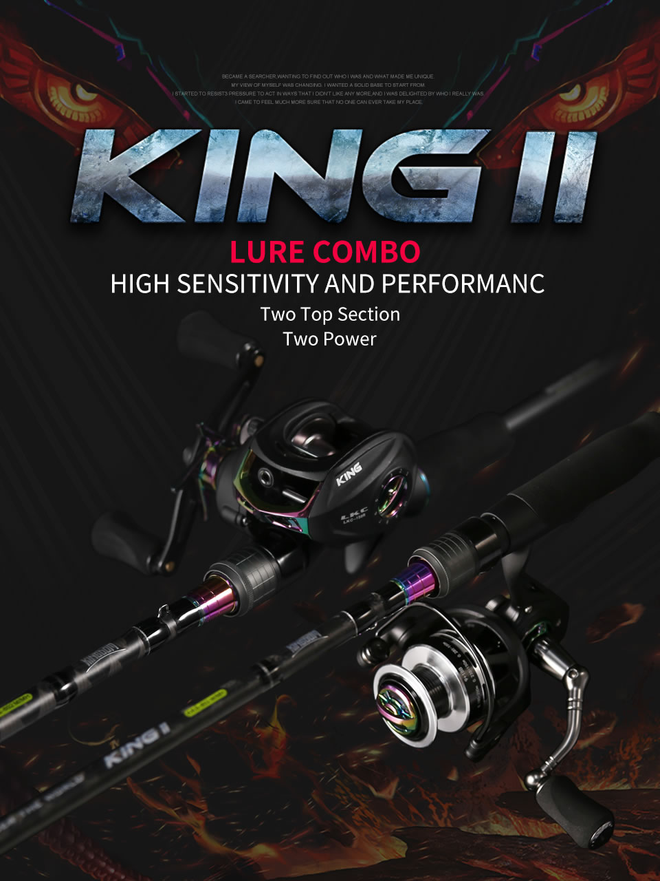 Kingdom KING II Spinning Rod Combo Baitcasting Spincasting Fishing Rods Reel set 2pc Top Section and 2pc Power Fishing Tackle (1)