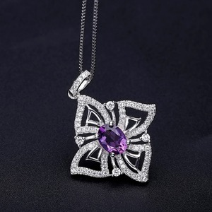 Image 4 - GEMS BALLET 1.30Ct Oval Natural Amethyst Gemstone Butterfly Pendant Necklace For Women 925 Sterling Silver Fine Jewelry