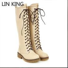 LIN KING Winter Women Martin Boots Lace Up Long Booties Knee-high Zipper Khight Boots Round Toe Fashion Motorcycle Boots