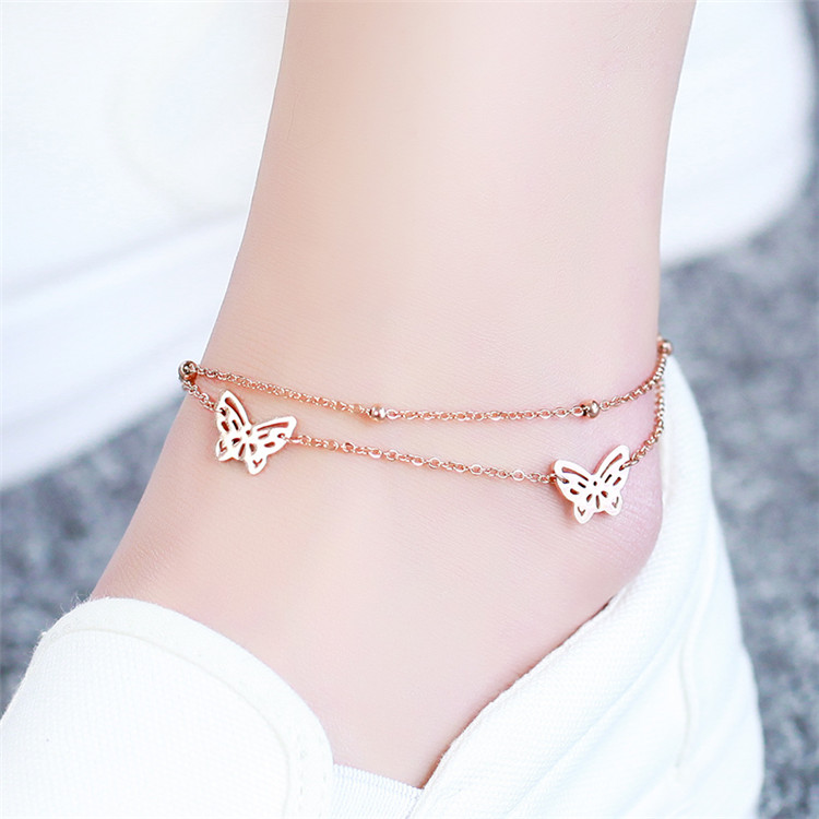 YUN RUO Fashion Rose Gold Color Double Layer Butterfly Anklet Chain Woman Gift 316L Stainless Steel Jewelry Top Quality Not Fade