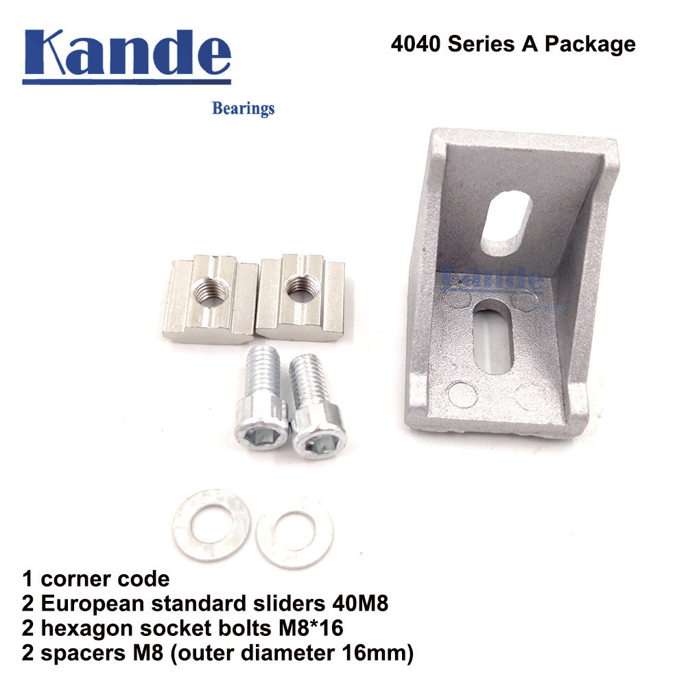 1 Set 4040 Corner Fitting Angle Aluminum 40 X 40 L Connector Bracket Fastener With Slider Nut T-nut Semi-circular Head Hex Bolt