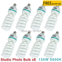8 pcs CFL Photography Lighting Video Bulb Daylight Balanced Energy Saving fluorescent Lamp photo studio 135W E27 5500K