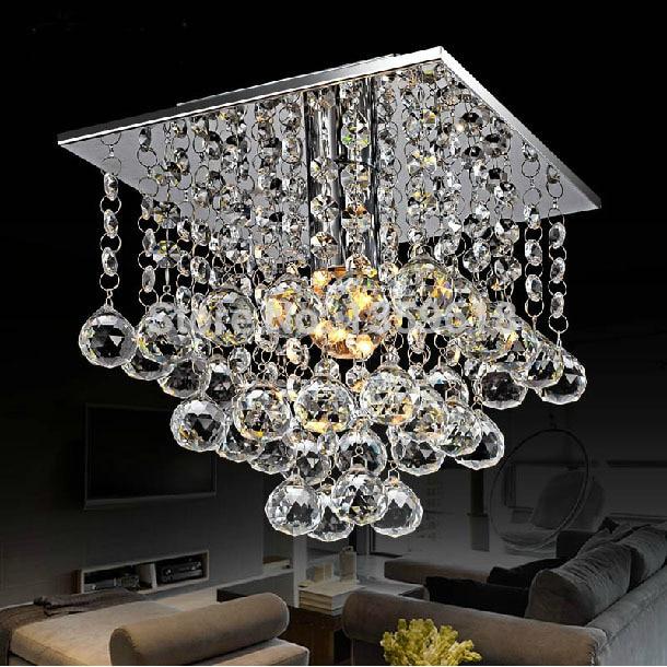 Mini LED Crystal Chandelier Crystal Lustre Modern LED Ceiling Lamp Lights 22 X 22 Square 1 Light