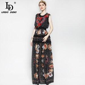 Image 4 - Женское модельное платье макси без рукавов, элегантное винтажное длинное платье в пол с цветочным принтом роз и вышивкой