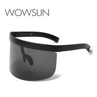 Enorme WOWSUN Negro de Gran Tamaño gafas de Sol de Los Hombres de La Vendimia 2018 de Una Sola Pieza lente Amarillo Rojo Grande Gafas de Sol de Las Mujeres A Prueba de Viento UV400 A241