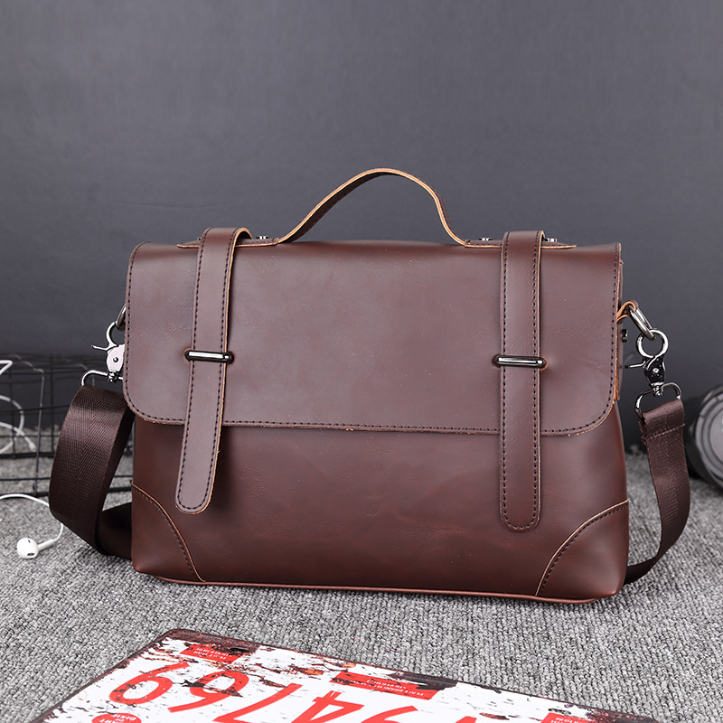 Designer Briefcase Men Vintage Business Handbag Men's Shoulder Bags Crazy Horse Leather Crossbody Laptop Bags Casual Travel Bags