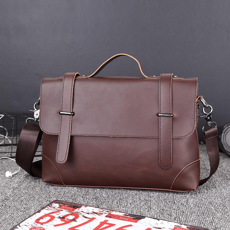 Designer Briefcase Men Vintage Business Handbag Men's Shoulder Bags Crazy Horse Leather Crossbody Laptop Bags Casual Travel Bags