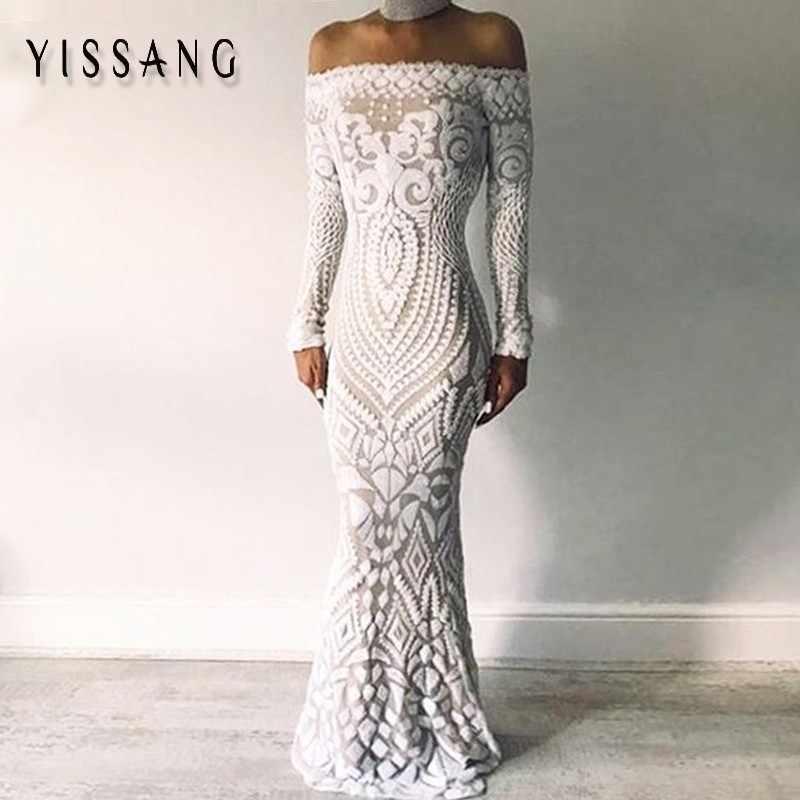 Yissang Black Blue Off Shoulder Women Dress Summer Autumn Sequin Bodycon Dresses  Maxi Long Bodycon Party 936a8c1dcdd2
