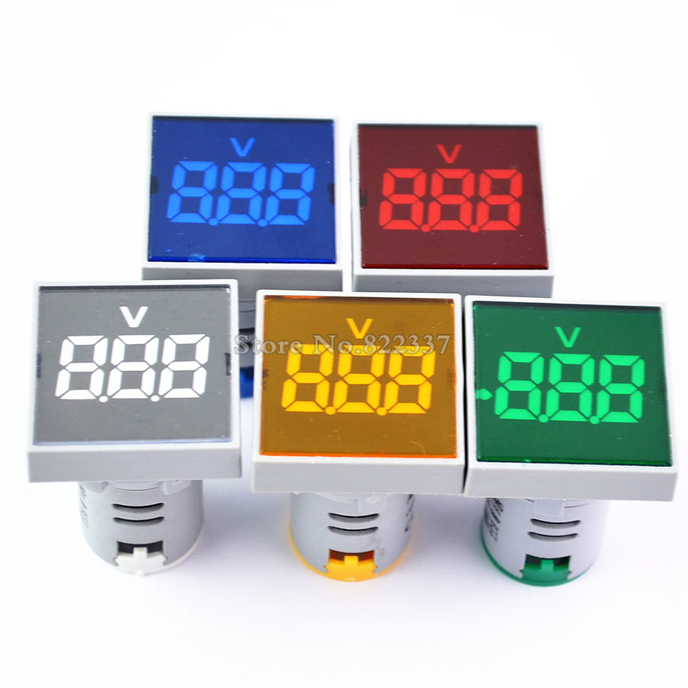 New Square 22MM AC 20-500V Voltmeter Panel LED Digital Voltage Meter Indicator Light Red Yellow