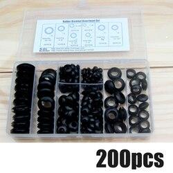 200 шт./кор. резиновой втулкой 8 размеров втулка прокладка для наложения оболочки проводов кабеля Черный Ассортимент Набор Электрический про...