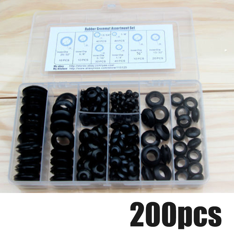 200Pcs/Box Rubber Grommet 8 Sizes Grommet Gasket For Wire Cable Black Assortment Set Electrical Wire Gasket Kit