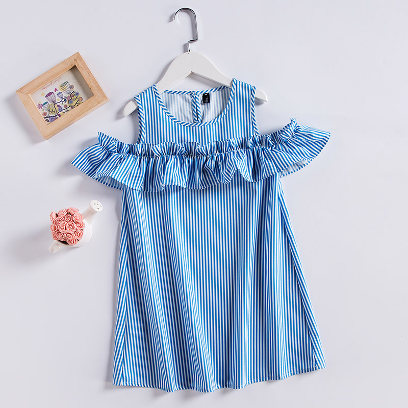 все цены на Summer new children 3Y-14Y clothes girls striped ruffle holiday dress sister look kids girl beach matching mom daughter sundress